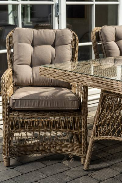 Newport spisebord med glassplate (200x100 - natur)