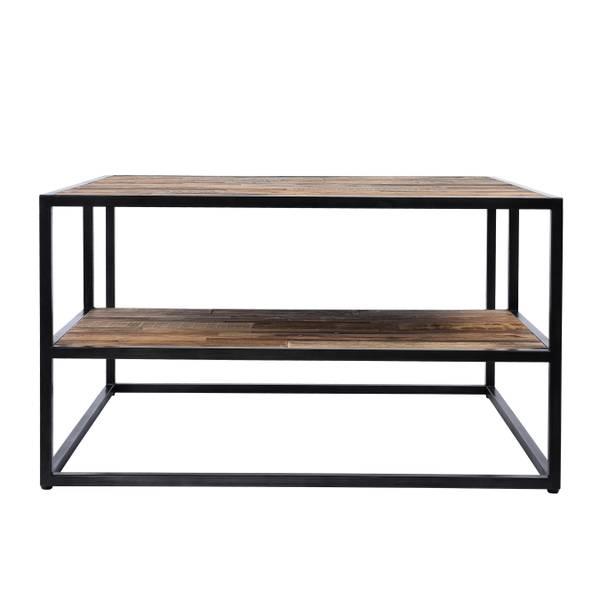 Elmwood sofabord med hylle (90x90)
